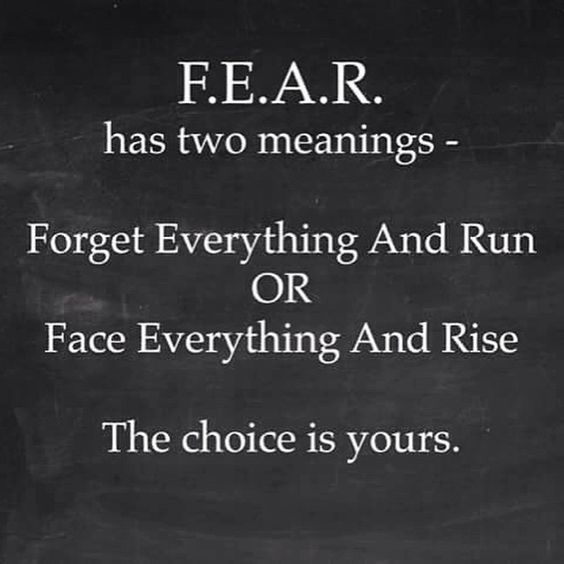 Fear has two meaniings: