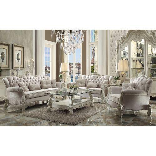 Acme 52107 Versailles Arm Chair In Tufted Ivory Velvet Bone White Formal Living Room Sets Living Room Sofa Set White Living Room Set