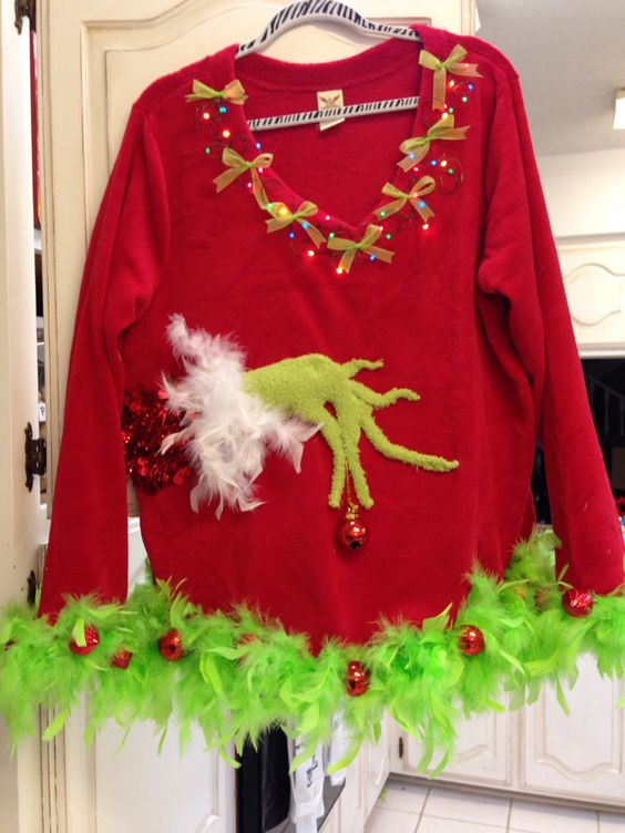 Grinch Ugly Christmas sweater Nicole Weekley Art & Soul