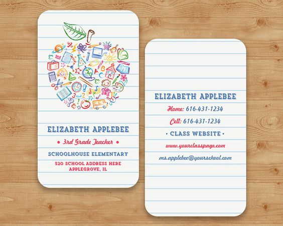 Colorful Teachers Apple Business Card Apple by PaperSunStudio