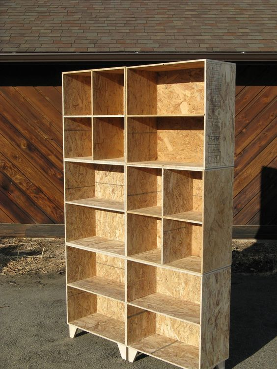 Mix and match osb bookcase and cubby 2 wide and 3 tall for Meuble osb