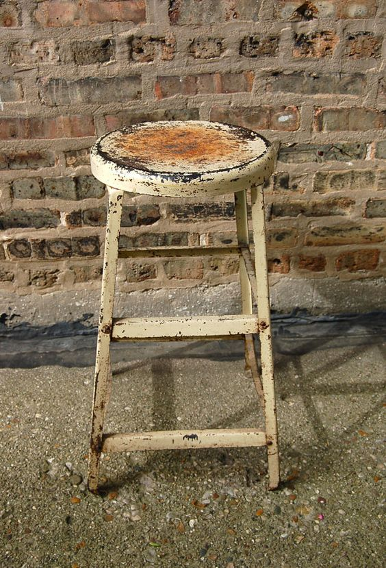 I love old stools & chairs!