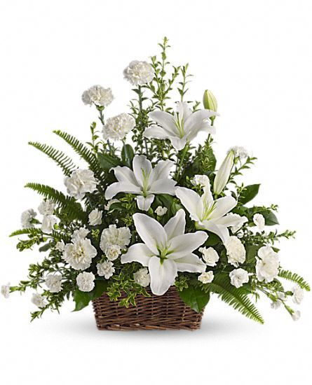 Peaceful White Lilies Basket Flowers: