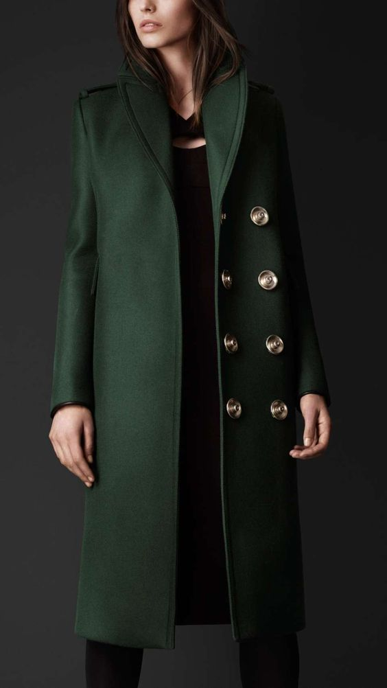 Forest Green Overcoat With Glam Buttons