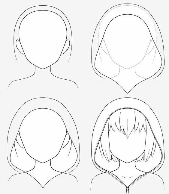 Từng bước vẽ nón hoodie anime