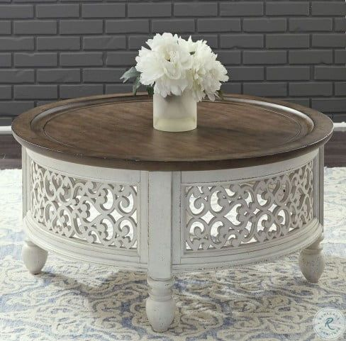 Parisian Marketplace Two Tone Heathered Brownstone Round Cocktail Table In 2020 Coffee Table Round Rug Living Room Coffee Table Wayfair