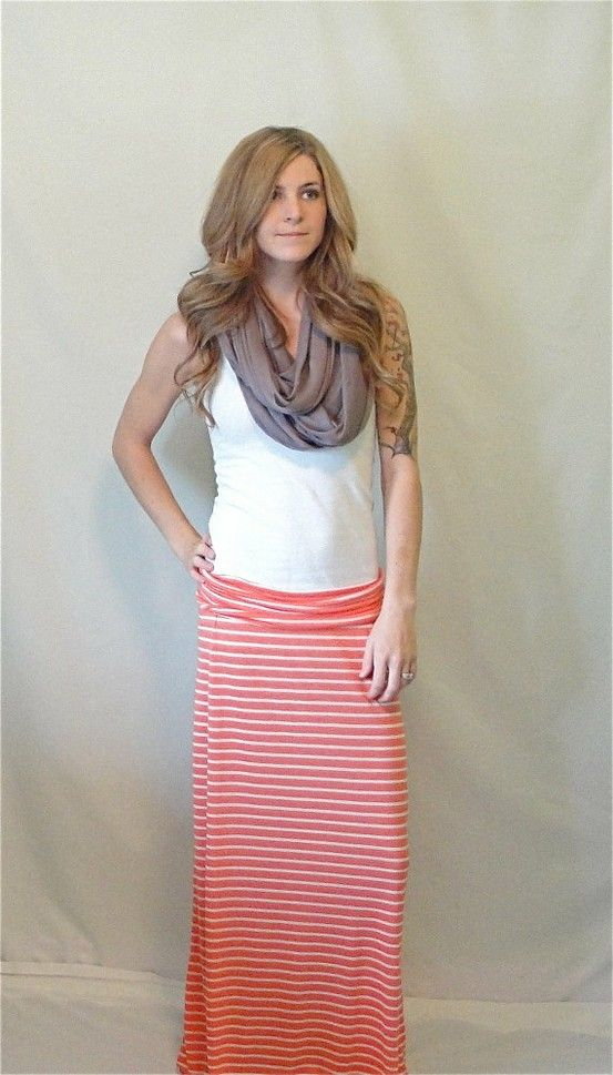 Striped Maxi Skirt #Etsy #Maxi #Skirt - Click image to find more Women's Apparel Pinterest pins
