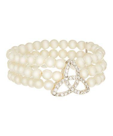 Another great find on #zulily! White & Crystal Trinity Pearl Stretch Bracelet #zulilyfinds