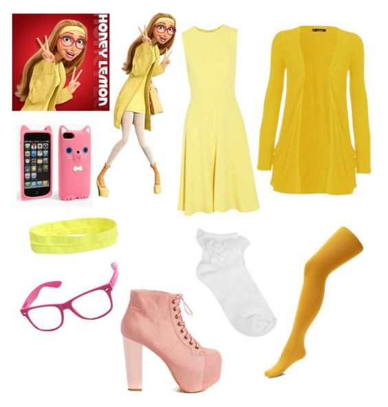 """Costume party/Honey Lemon"" by lps1880 ❤ liked on Polyvore featuring WearAll, Iris & Ink, Oasis, Jeffrey Campbell and Aéropostale"