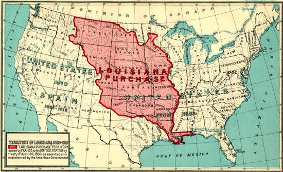 Louisiana Purchase and Western Exploration Routes map from Maps