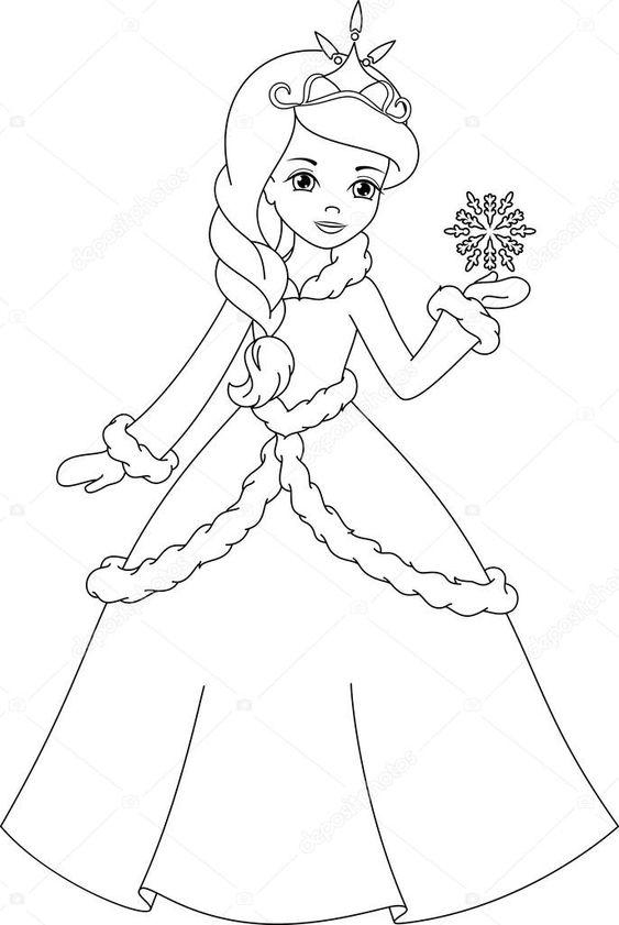 Baixar - Página de princesa para colorir de inverno — Ilustração de Stock