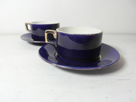 2 Sarreguemines cups and saucers cobalt blue by frenchvintagedream