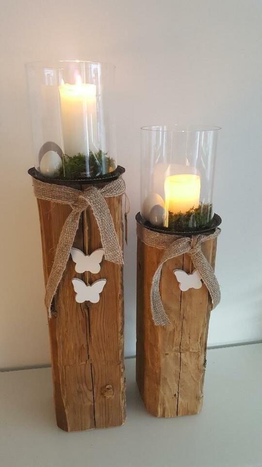 Windlicht Holz Laterne Kerze Holzbalken Glas Natur Holz Design In