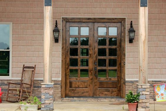Furniture, Old Solid Wood Exterior Door With Black Metal Handle And Double…