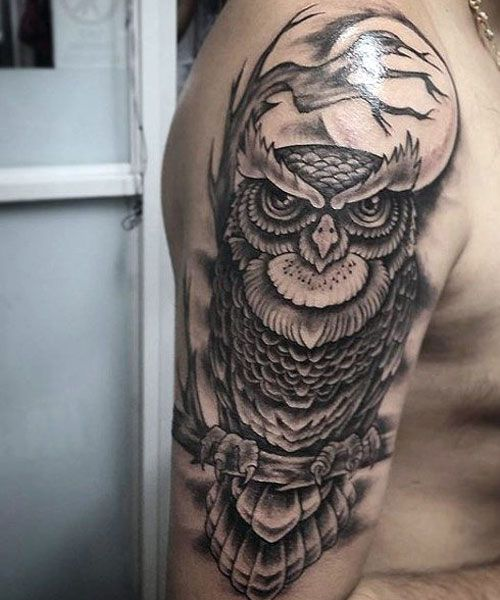 125 Best Owl Tattoos For Men Mens Owl Tattoo Tattoos For Guys Traditional Owl Tattoos