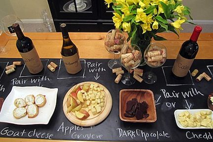 this is just AWESOME. Must implement first dinner party: Wine Tasting, Wine Party, Chalkboard Runner, Wine Parties, Chalk Board, Entertaining Idea, Party Ideas