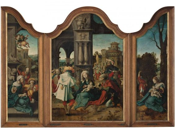 Meester van de Aanbidding te Lille (in 1520 – 1530): Triptych with the Adoration of the Magi, the Adoration of the Shephards and the Rest on the Flight into Egypt.  http://collectie.boijmans.nl/en/object/3141/Triptych-with-the-Adoration-of-the-Magi,-the-Adoration-of-the-Shephards-and-the-Rest-on-the-Flight-into-Egypt/Meester-van-de-Aanbidding-te-Lille