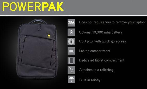 Minimalist design, TSA friendly, USB plug with integrated battery, sternum strap, built-in rain fly, and passport pocket.