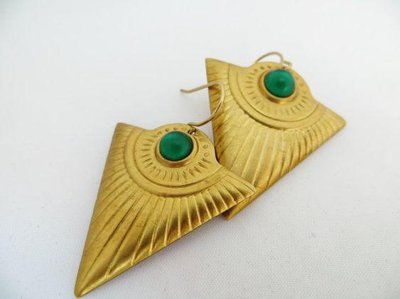 Triangle earrings , Geometric jewelry , Raw Brass , Tribal jewellery , Egyptian earrings , Green Glass Cabochons , Aztec drop earrings on Etsy, $17.06