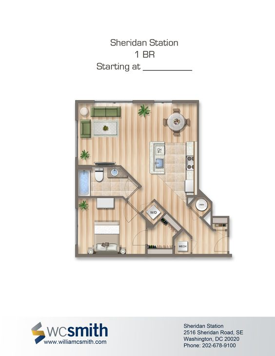 One Bedroom Floor Plan | Sheridan Station in Southeast Washington DC | WC Smith #Apartments | Anacostia #Rentals