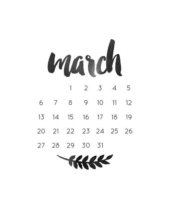 monthly freebie | march calendar