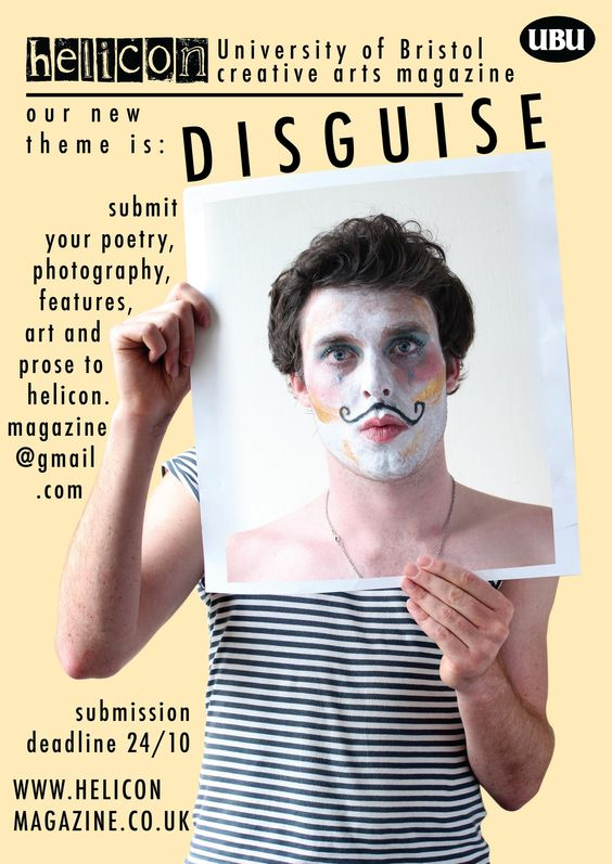 Helicon Magazine: Art editor, 2010-2011  I was responsible for the layout, organizing events and managing the submissions of this student arts magazine.   Click to view our 'diguise' issue.
