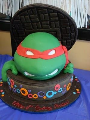 Awesome cake at a Teenage Mutant Ninja Turtles Birthday Party See