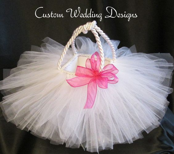 Tulle Flower Girl Basket with Begonia Sheer Ribbon Bow.  Select you bow color. by Customweddingdesigns on Etsy