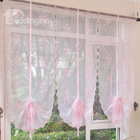 Lovely #Pink Vine #Embroidery Sheer Tied-Up #Roman #Shades
