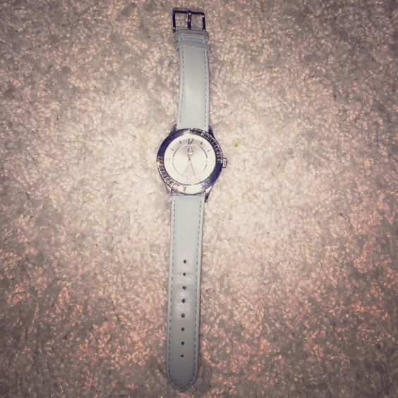 Guess watch blue leather band rhinestone face Great watch from Guess. Will need a new battery but plenty of life left. Excellent condition with slight wear on band as shown in last photo Guess Accessories Watches