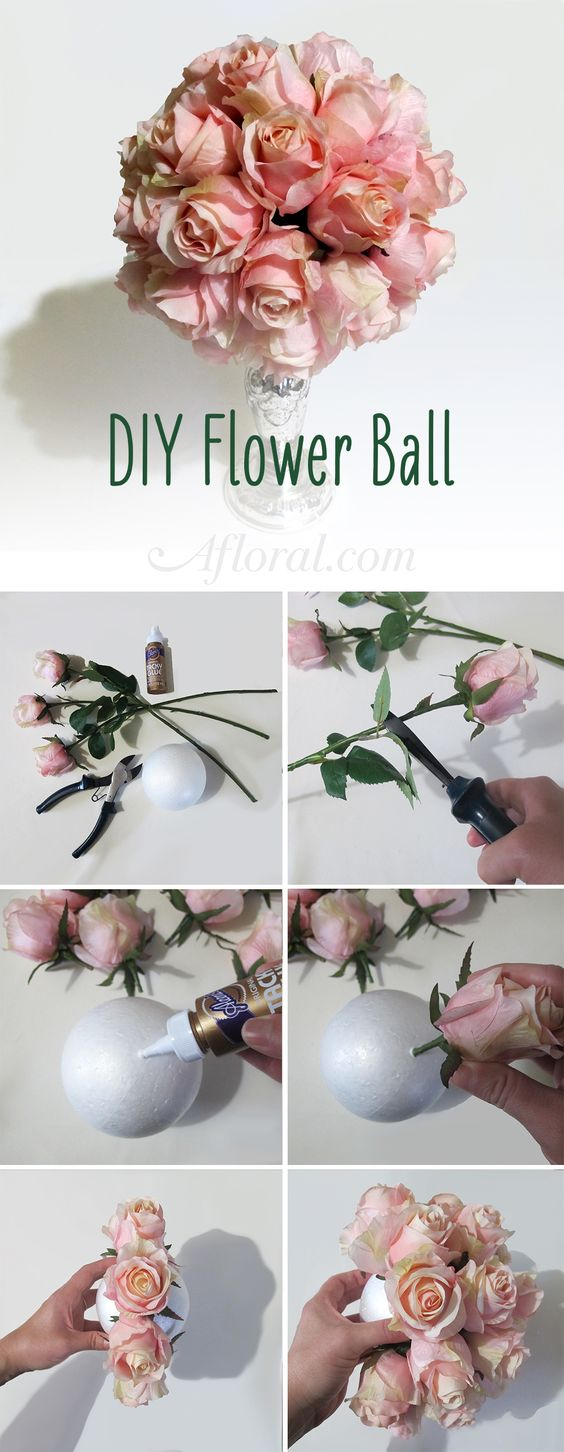 DIY Flower Ball.  Make your own pomander ball with silk flowers from Afloral.com.  Pick your favorite silk rose color and glue them to a foam ball.  Hang from a ribbon or attach to that top of a taper candle holder.: