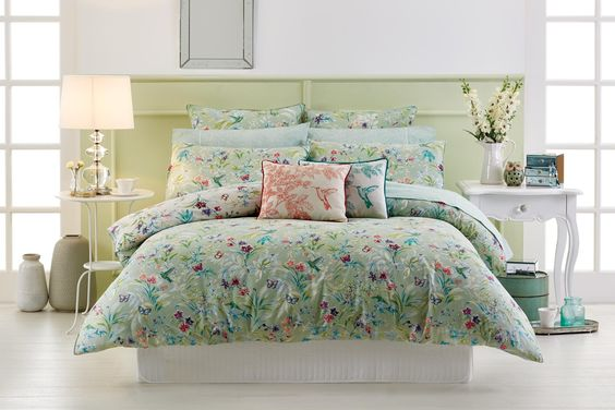 Wake up in a lush, green garden oasis that is Botanica #bedroom #bedbathntable