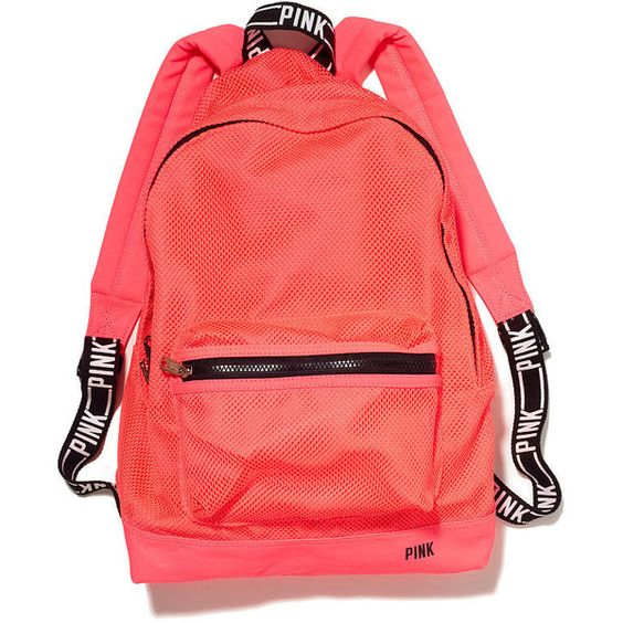 Victoria's Secret Classic Mesh Backpack (875 UYU) ❤ liked on Polyvore featuring bags, backpacks, neon coral, neon bag, neon pink backpack, red backpack, red bag and mesh backpack