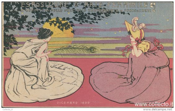 ESPOSIZIONE ARTE FEMMINILE FANCIULLE ABBANDONATE 1899 cartolina viaggiata exposition d'art féminin, femmes abandonnées, abandon girls exhibition 1899