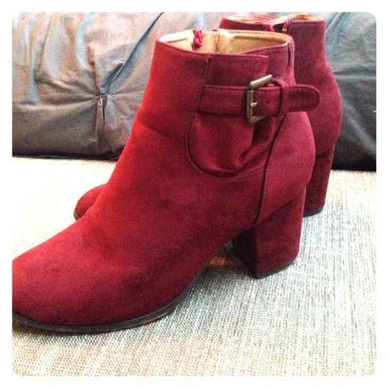 """Oxblood booties Oxblood booties with belted strap on the side. 2"""" heel Shoes Ankle Boots & Booties"""