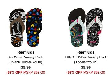 Reef Kids Flip Flops: Only 5 dollars shipped! If you don't love 6pm.com yet..you will!