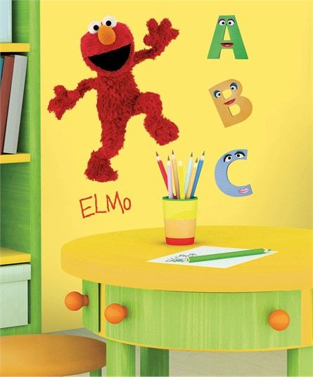 Sesame streets wall decals and decals on pinterest for Elmo wall mural
