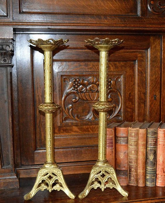 Antique Pair French Church Altar Candle Holders Religious Candlesticks Trefoils…