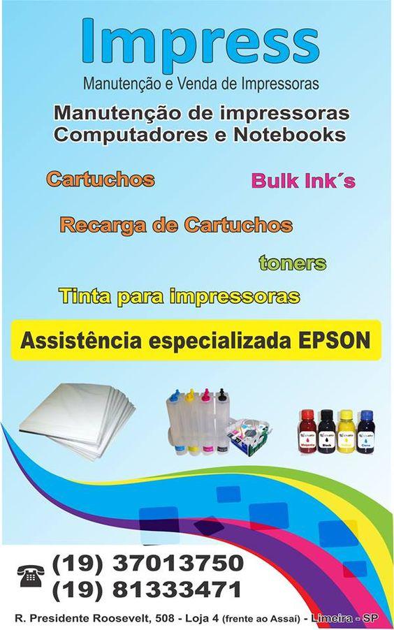 IMPRESS - MANUTENÇÃO E VENDA DE IMPRESSORAS Cartuchos - Bulk-ink´s - Recarga de Cartuchos - Tinta para Impressoras Assistência Especializada EPSON