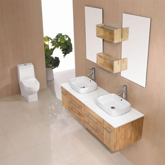 Dis748sc meuble salle de bain scandinave meuble double vasque les tendance - Meuble salle de bain zen bois ...