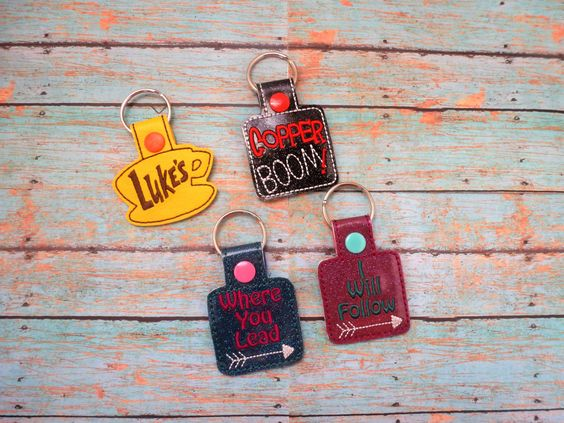 Gilmore Vinyl Key Fob Snap Tab! Luke's! Where You Lead I Will Follow! Copper Boom! Customize Your Color Thread & Vinyl! Quality Embroidery! by EODdesign on Etsy