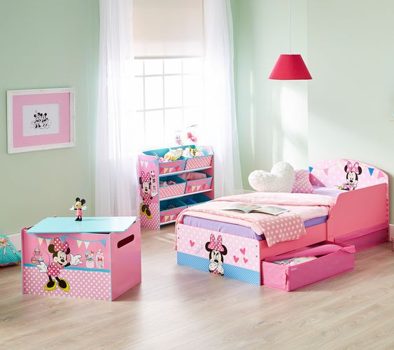 Cama para ni as minnie mouse un dormitorio infantil for Habitaciones infantiles disney