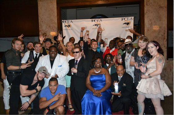 Group picture of all of us who won an award at Forsyth Entertainer Awards Winston Salem NC with Ellen Leak