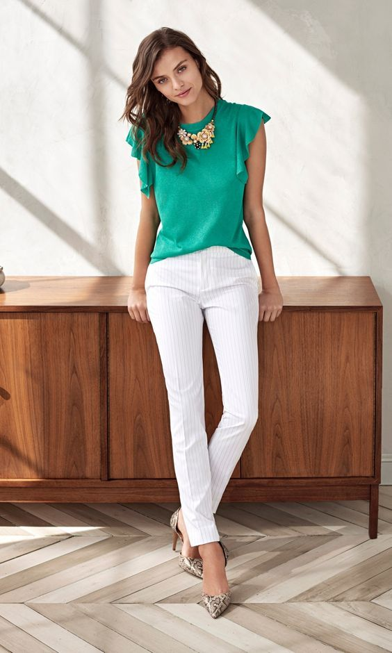 Green top  Skinny white jeans | I love Summer and Pants