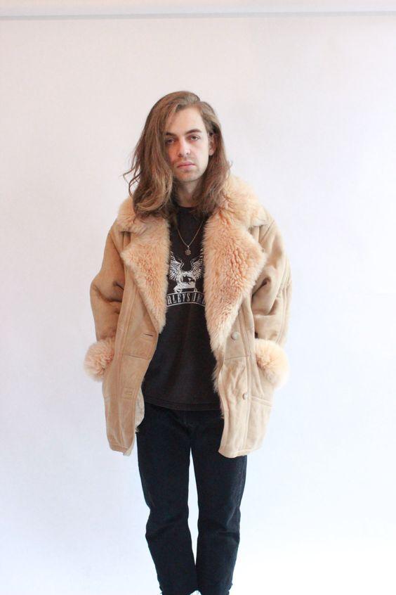 Vintage 80s Long Soft Haired Cream Sheepskin Coat by WastelandVintageUK on Etsy