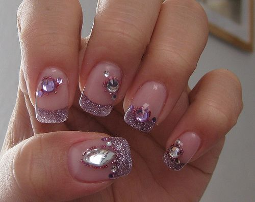 Glitter nails with gems embedded