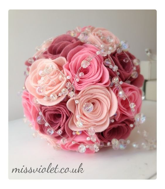 Handmade pink felt rose bouquet with crystal and pearl trails. £125.00