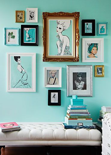 Teal art wall