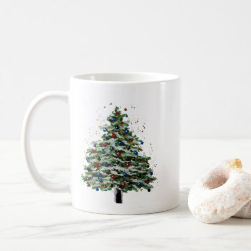 Colorful Snowy Christmas Tree Coffee Mug Zazzle Com In 2020 Snowy Christmas Tree Christmas Decorations Rustic Candyland Decorations