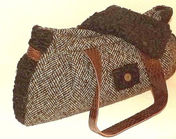 Unikat Tasche Pelz&Leder&Tweed im baguette style von TaschenWelten